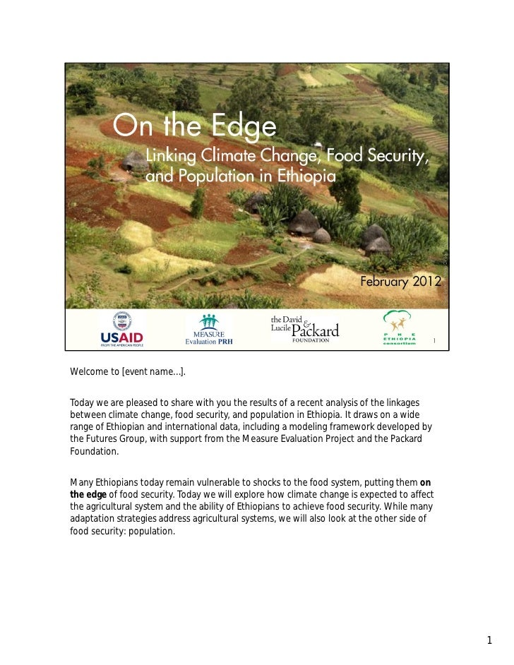 On the Edge: Linking Climate Change, Food Security, and Population in Ethiopia