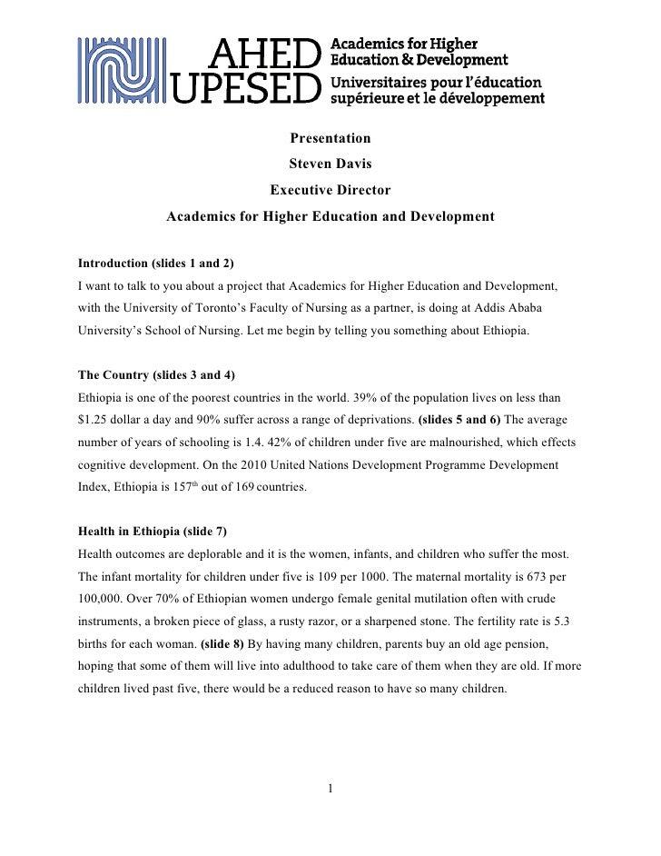 AHED - Ethiopia Nursing Project - Presentation