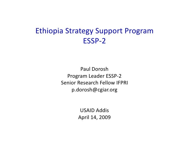 Ethiopia Strategy Support Program-II Presentation (ESSP-II)