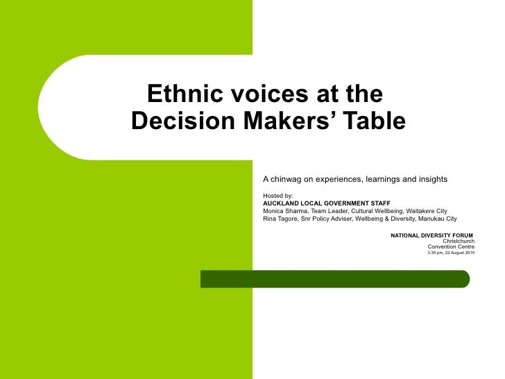 Ethnic voices at the decision makers' table ndf aug 2010 cc