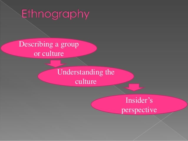 Describing a group    or culture           Understanding the               culture                                Insider'...