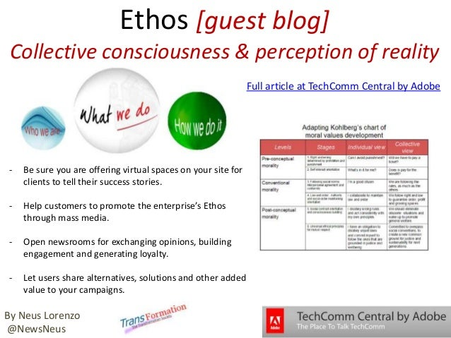 Ethos [guest blog] Collective consciousness & perception of reality - Be sure you are offering virtual spaces on your site...