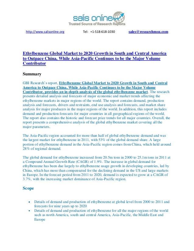 Ethylbenzene global market to 2020