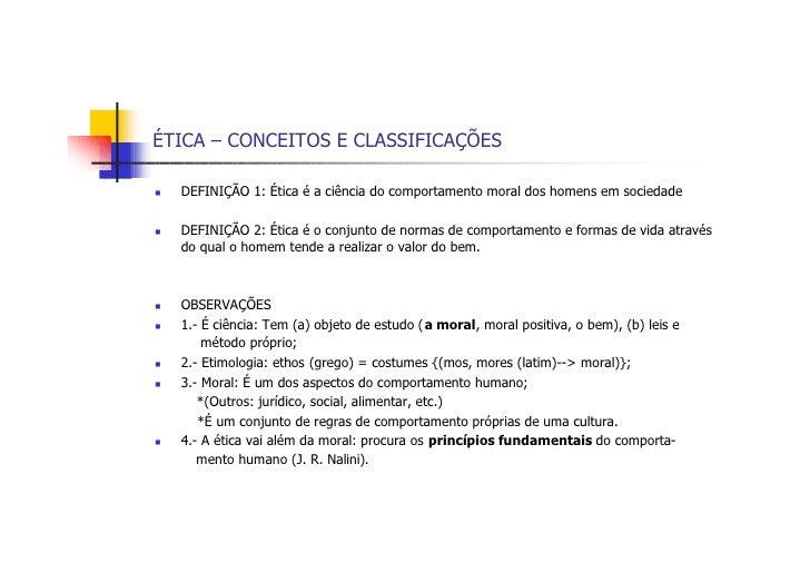 Etica conceitos classific