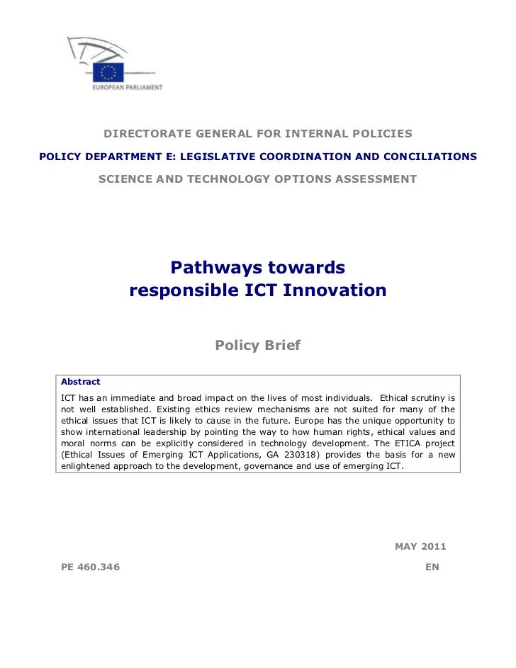 DIRECTORATE GENERAL FOR INTERNAL POLICIESPOLICY DEPARTMENT E: LEGISLATIVE COORDINATION AND CONCILIATIONS            SCIENC...