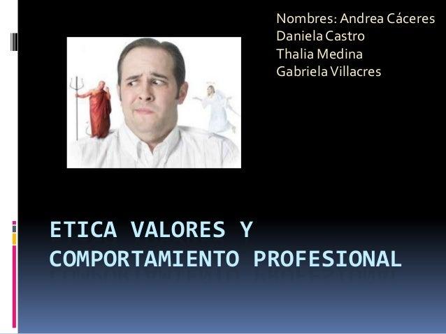 Nombres: Andrea Cáceres Daniela Castro Thalia Medina Gabriela Villacres  ETICA VALORES Y COMPORTAMIENTO PROFESIONAL