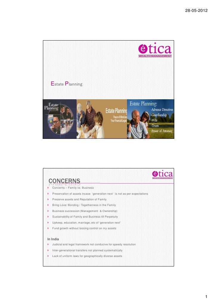 28-05-2012  Estate Planning    A simple way to invest in equity and create wealthCONCERNS   Concerns – Family vs. Business...