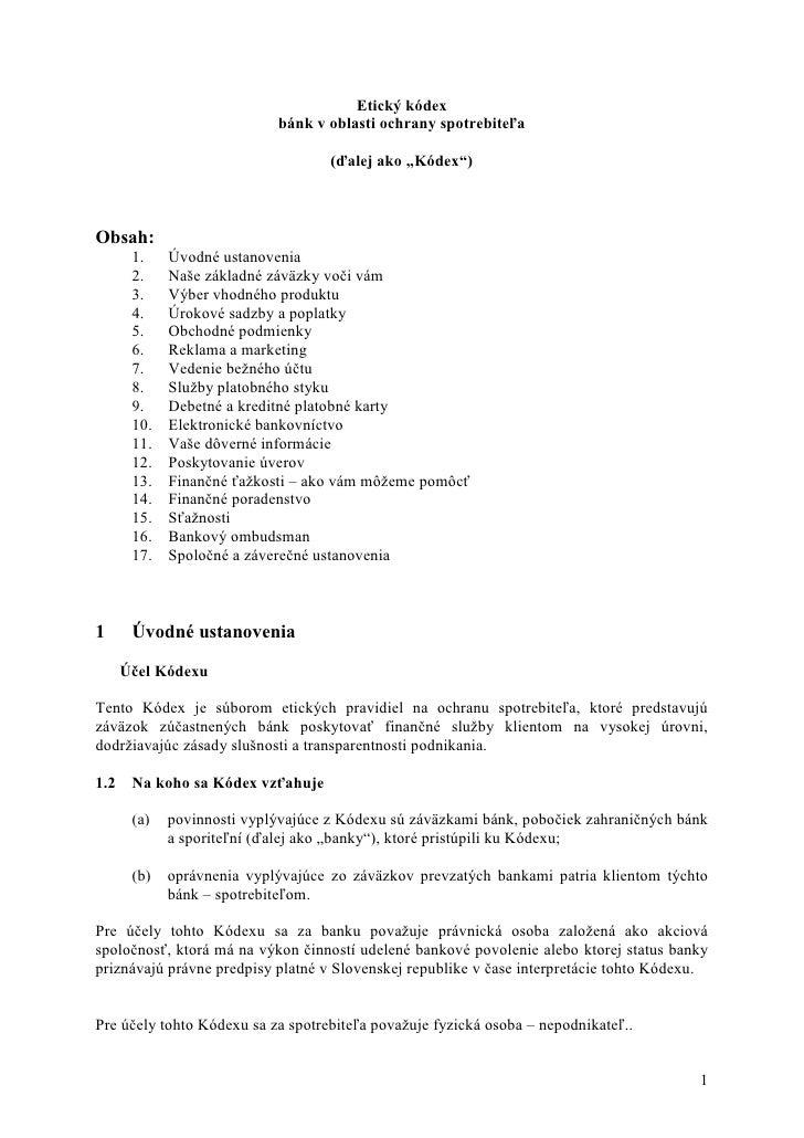Etický kódex                             bánk v oblasti ochrany spotrebiteľa                                      (ďalej a...