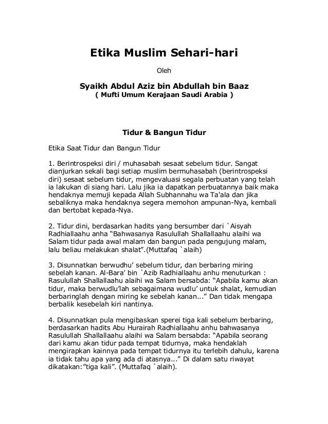Etika Muslim Sehari-hari                                 Oleh         Syaikh Abdul Aziz bin Abdullah bin Baaz             ...