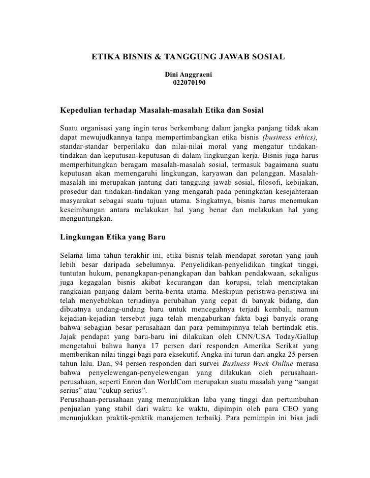 ETIKA BISNIS & TANGGUNG JAWAB SOSIAL                                Dini Anggraeni                                  022070...
