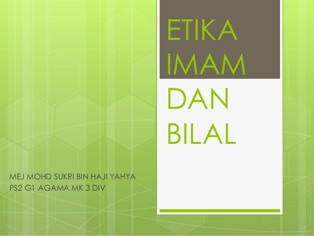 Etika Imam dan Bilal