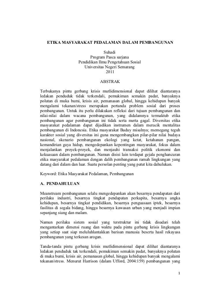 ETIKA MASYARAKAT PEDALAMAN DALAM PEMBANGUNAN                                   Suhadi                           Program Pa...