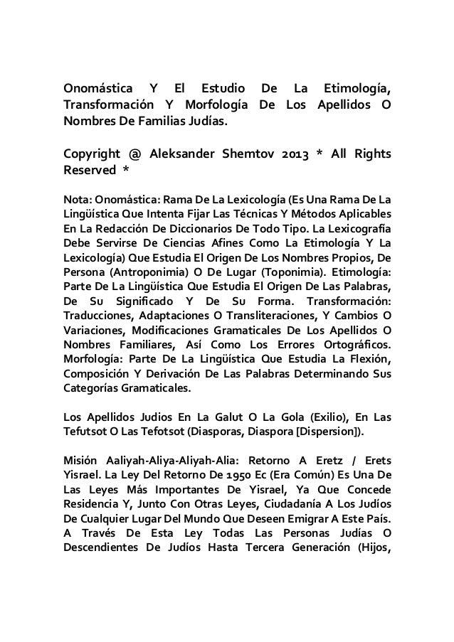 Etimologia origen y significado de los apellidos judios
