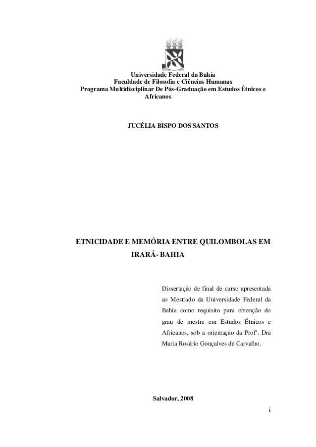 Etinicidade e Memória Éntre Quilombolas de Irará - Ba