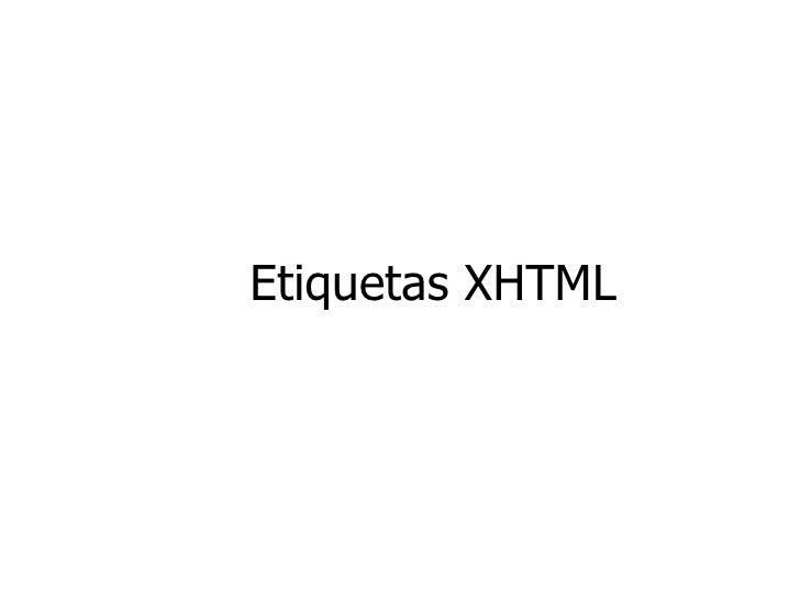 Etiquetas XHTML