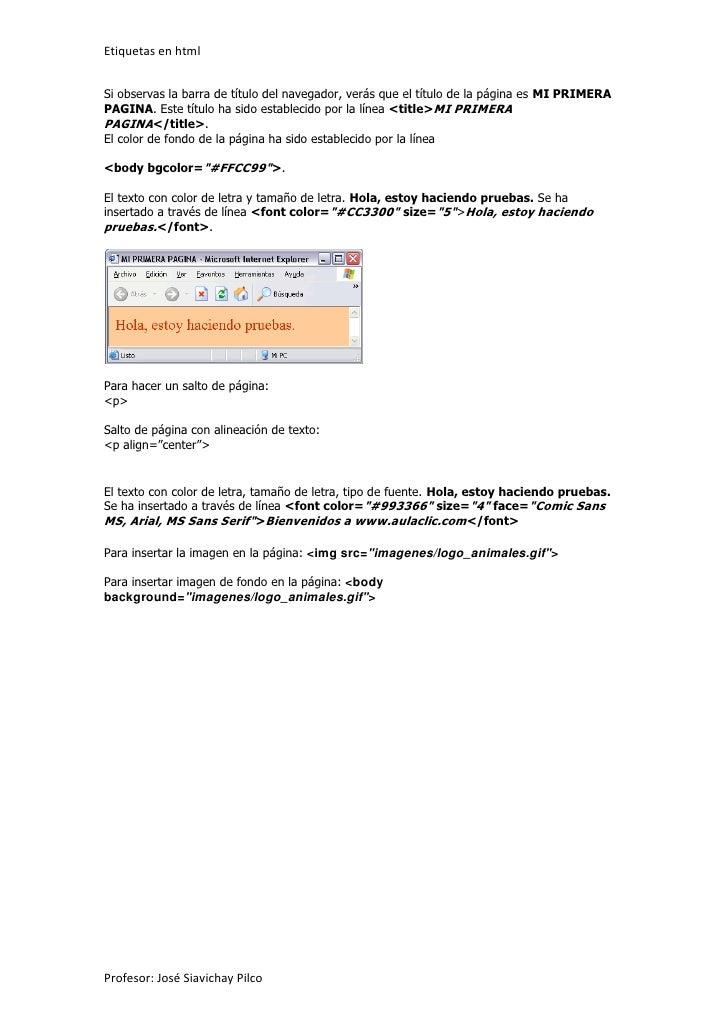 Etiquetas 1 en html