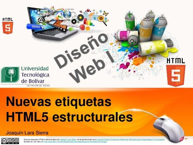 joaquinls Nuevas etiquetas HTML5 estructurales Joaquín Lara Sierra Nuevas etiquetas HTML5 estructurales por Joaquin Lara S...