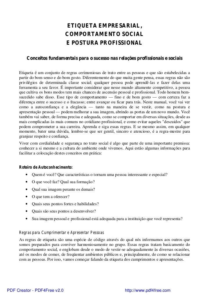 ETIQUETA EMPRESARIAL,                                COMPORTAMENTO SOCIAL                                E POSTURA PROFISS...