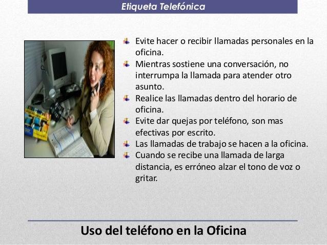 Etiqueta y protocolo empresarial for Telefono de la oficina
