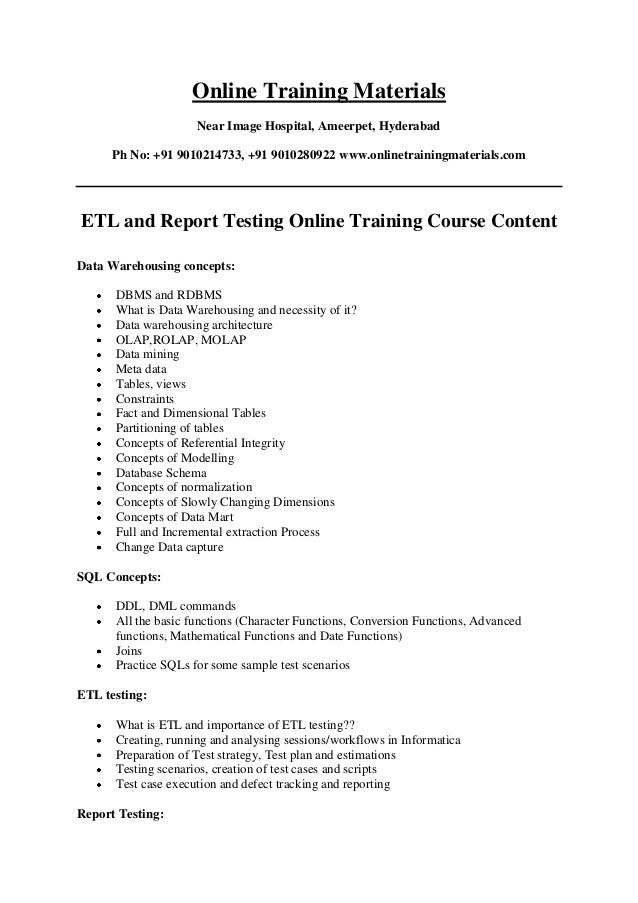 ETL and Report Testing Online Training Institutes in Hyderabad