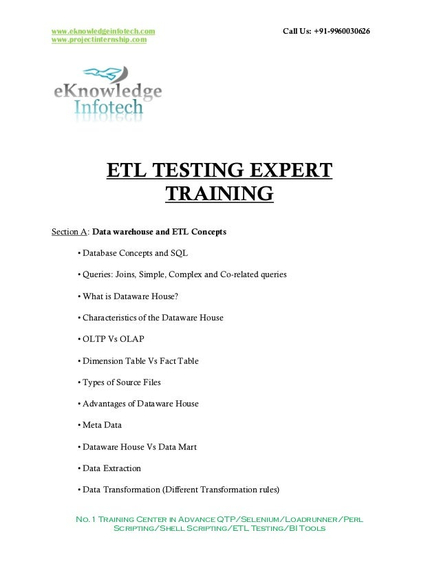etl testing contents