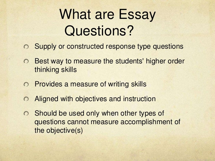 essay questions Preface although essay questions are one of the most commonly used methods for assessing student learning, many are poorly designed and ineffectively used.