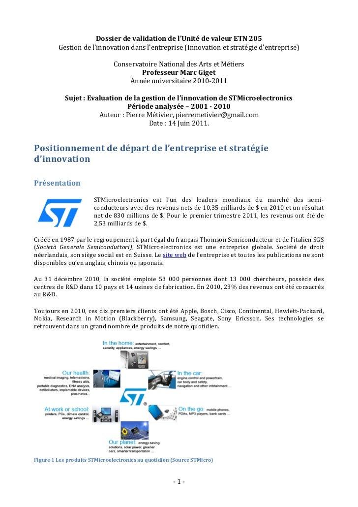 Dossier de validation de l'Unité de valeur ETN 205               Gestion de l'innovation dans l'...