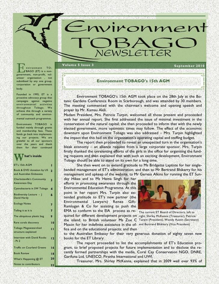 Environment Tobago News September 2010