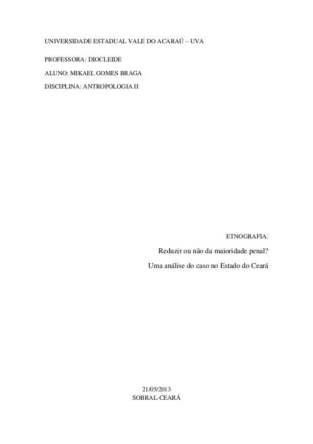 Redução ou não da maioridade penal? Uma análise do caso no Estado do Ceará