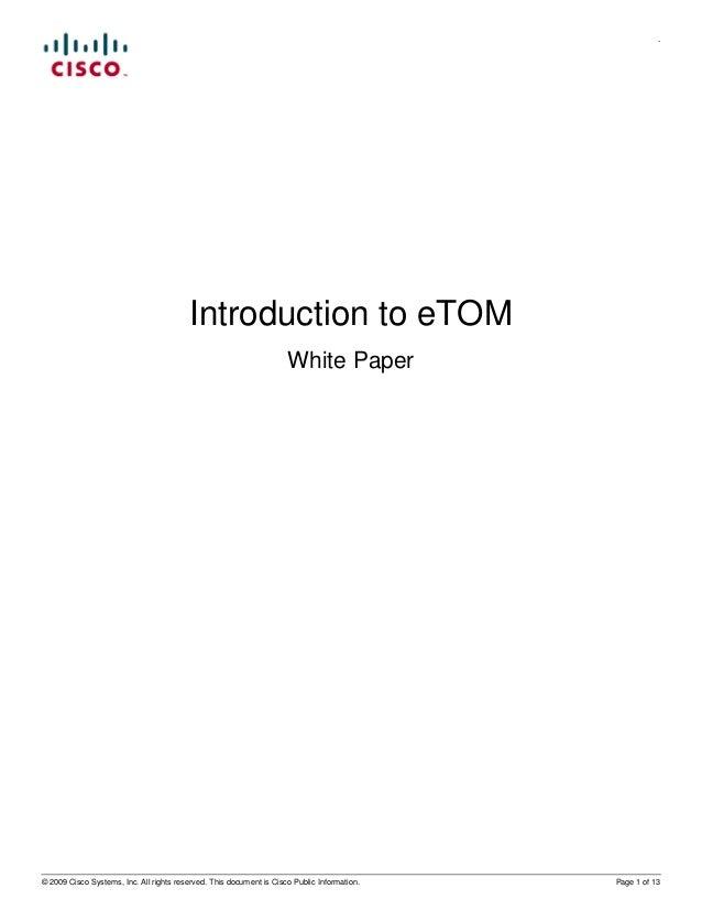 .                                         Introduction to eTOM                                                            ...
