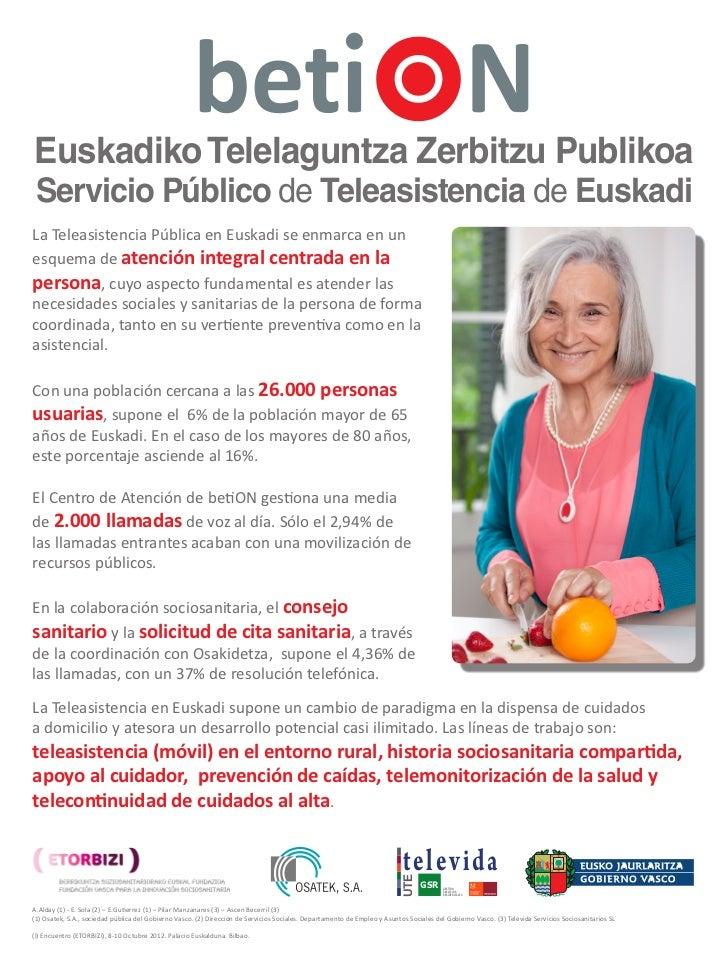 Euskadiko Telelaguntza Zerbitzu Publikoa Servicio Público de Teleasistencia de EuskadiLa Teleasistencia Pública en Euskadi...