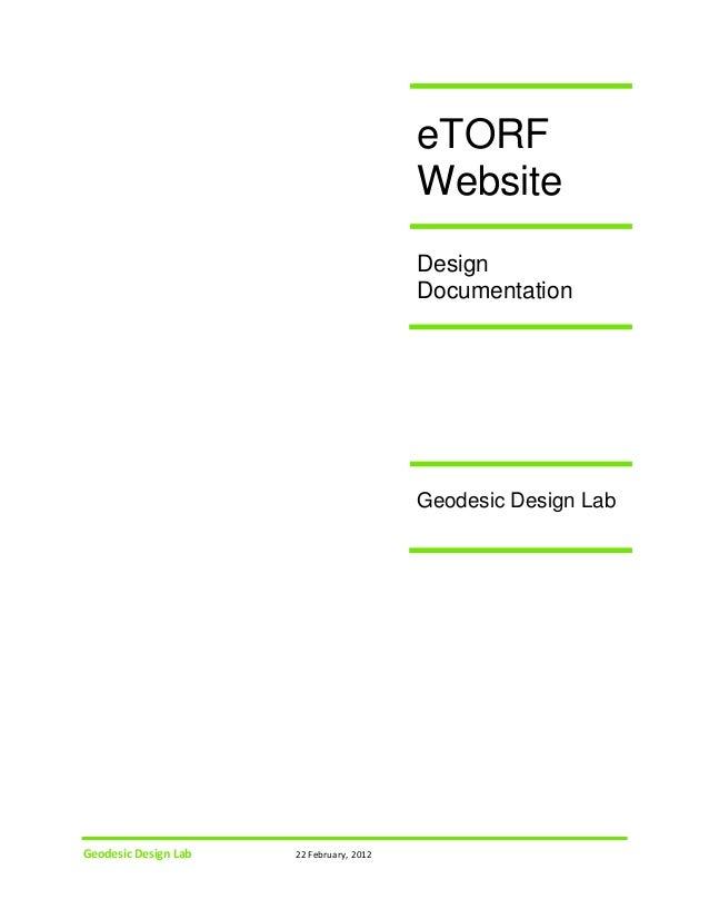 eTORF Website Design Documentation  Geodesic Design Lab  Geodesic Design Lab  22 February, 2012