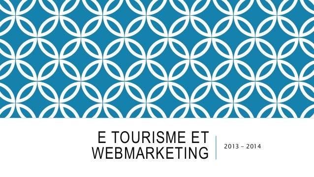 E TOURISME ET  WEBMARKETING  2013 - 2014