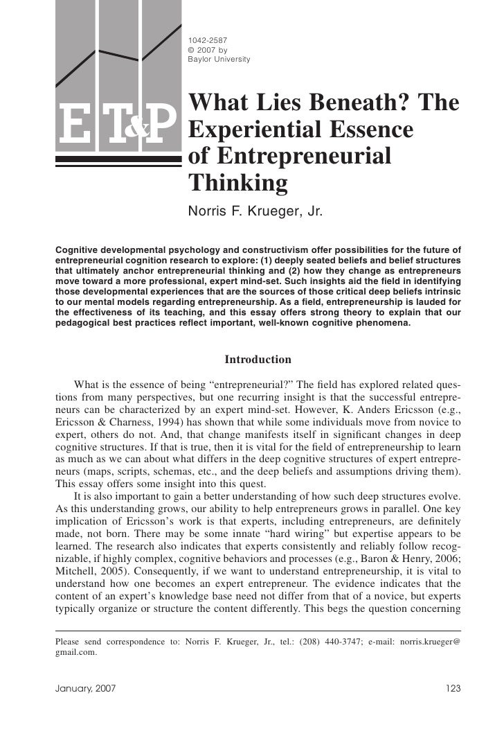 Experiential Essence of Entrepreneurship