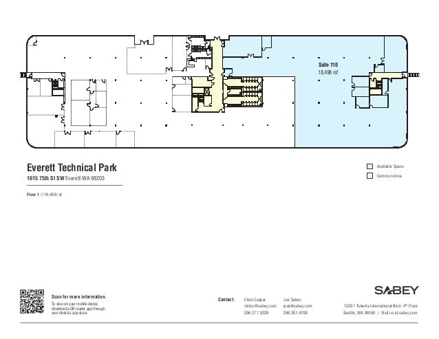 Suite 110 18,498 rsf  Everett Technical Park  Available Space Common Area  1615 75th St SW Everett WA 98203 Floor 1 // 18,...