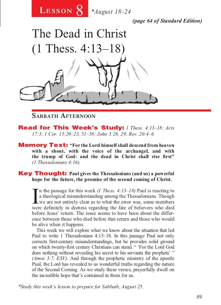 Lesson          8       *August 18–24                                                         (page 64 of Standard Edition...