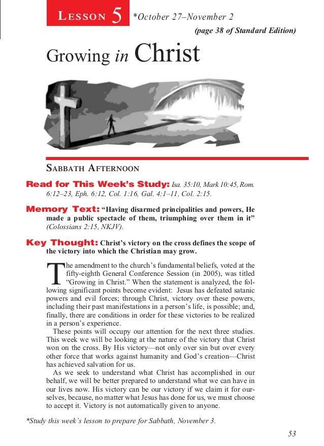 Lesson            5       *October 27–November 2                                                         (page 38 of Stand...