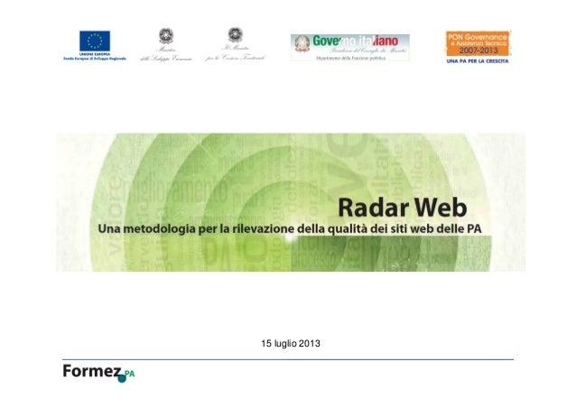 Radar web per la qualità dei siti web della PA