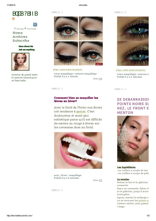 1/18/2015 etre belle http://etre­bellee.tumblr.com/ 1/9 Share http://etre-belle.tk/photo tutos maquillage / astuces maquil...