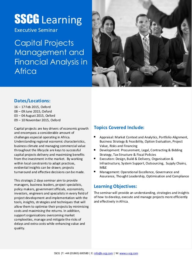 SSCG Executive Seminar: Capital Project Development and Management in Africa