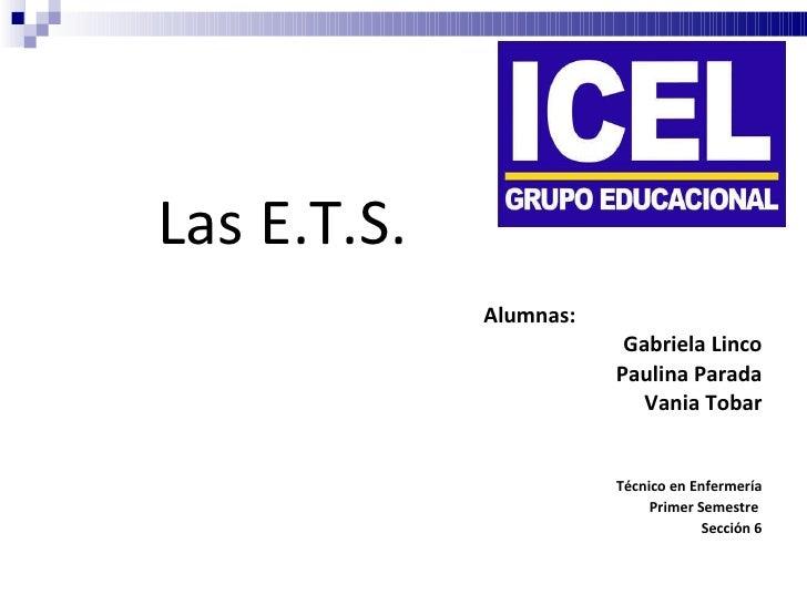 Alumnas: Gabriela Linco Paulina Parada Vania Tobar Técnico en Enfermería Primer Semestre  Sección 6 Las E.T.S.