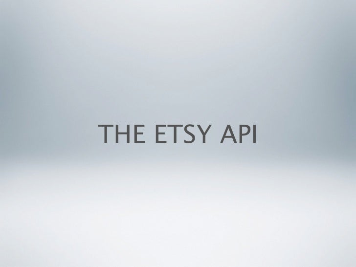 THE ETSY API