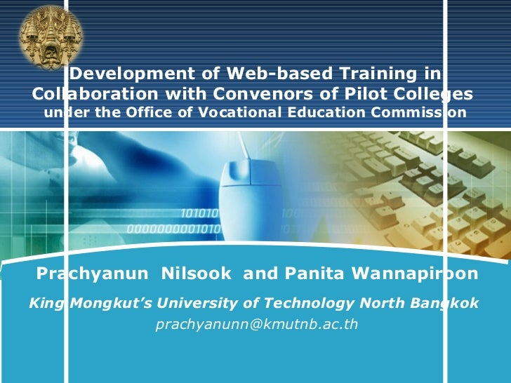 LOGO    Development of Web-based Training inCollaboration with Convenors of Pilot Colleges under the Office of Vocational ...
