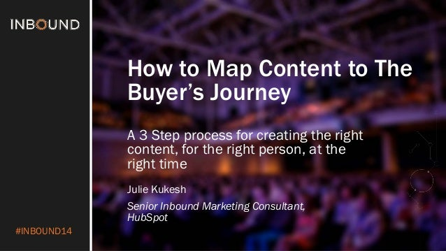 #INBOUND14  How to Map Content to The Buyer's Journey  Julie Kukesh  Senior Inbound Marketing Consultant, HubSpot  A 3 Ste...