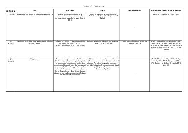 Scadenzario Febbraio 2014 | Scadenze fiscali