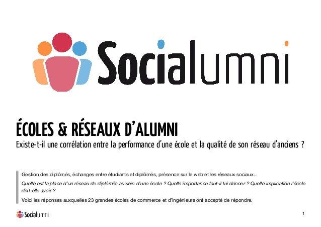 1 ÉCOLES & RÉSEAUX D'ALUMNI Existe-t-il une corrélation entre la performance d'une école et la qualité de son réseau d'a...