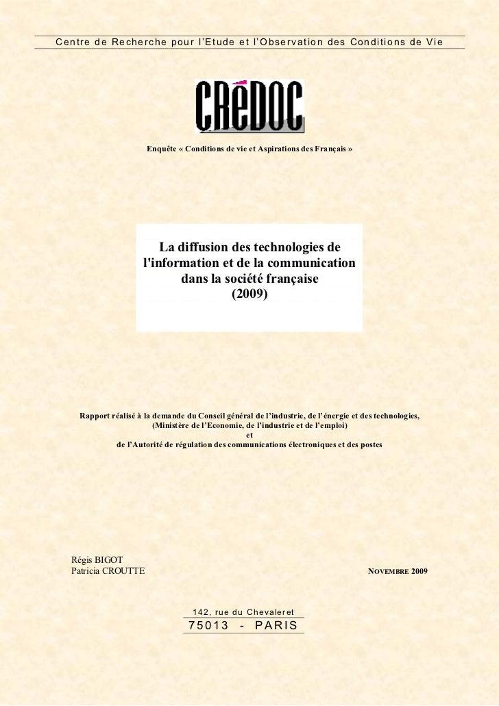 La diffusion des technologies de l'information et de la communication dans la société française - CREDOC 2009