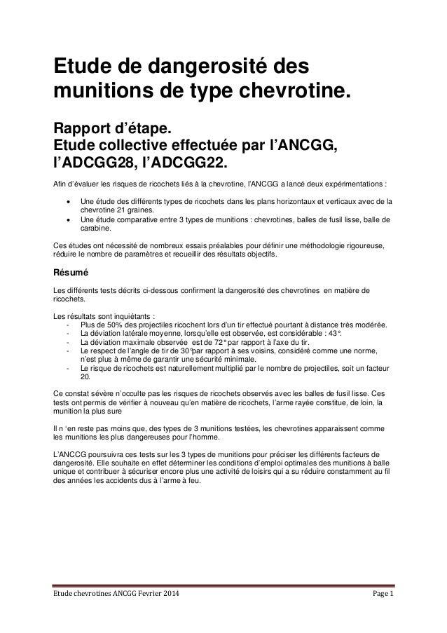 EtudechevrotinesANCGGFevrier2014 Page1 Etude de dangerosité des munitions de type chevrotine. Rapport d'étape. Etud...