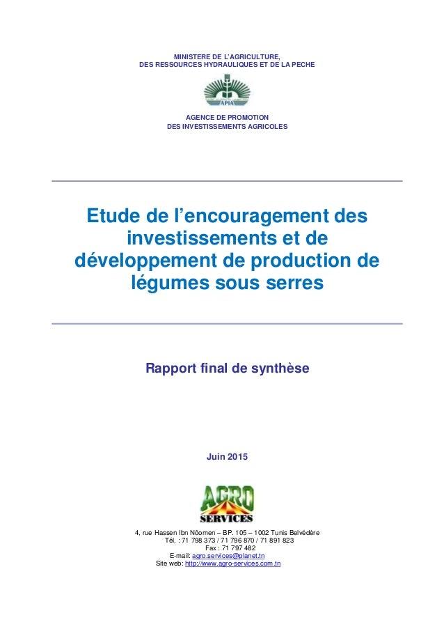 MINISTERE DE L'AGRICULTURE, DES RESSOURCES HYDRAULIQUES ET DE LA PECHE AGENCE DE PROMOTION DES INVESTISSEMENTS AGRICOLES E...