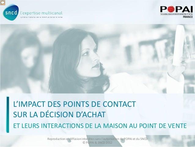 1 L'IMPACT DES POINTS DE CONTACT SUR LA DÉCISION D'ACHAT ET LEURS INTERACTIONS DE LA MAISON AU POINT DE VENTE Reproduction...